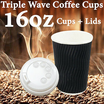 Disposable Triple Wall Wave Coffee Cups 16 Oz Takeaway Bulk Cups+Lids Wave Cups