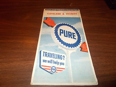 1963 Pure Oil Cleveland and Vicinity Vintage Road Map