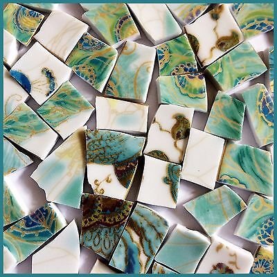 "70 BROKEN CHINA MOSAIC TILES~ 1/2"" TURQUOISE & Green Peacock Colors Gold"