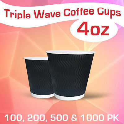 Disposable Triple Wall Wave Coffee Cups 4 Oz Takeaway Bulk Cups Wave Cups
