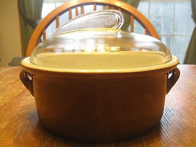 Vintage Hall Pottery Casserole Dish With Sundial Glass Lid