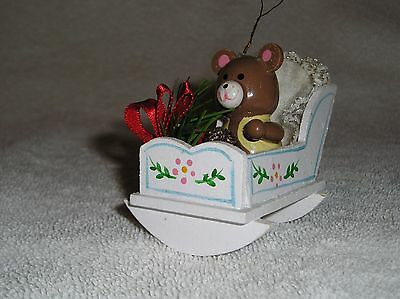 Vintage Bear In White Rocking Cradle Christmas Ornament