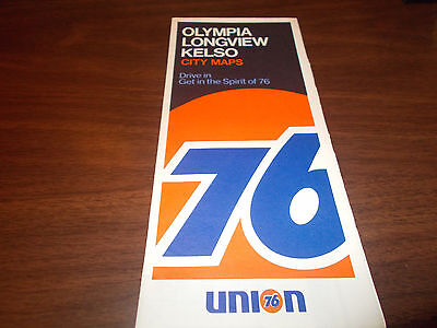 1970 Union 76 Olympia/Longview/Kelso Vintage Road Map