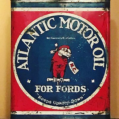 RARE Atlantic Oil Can For Fords W/ Parrot Graphic Sign 1 Gallon Oil Can