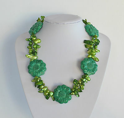 Vintage Hand Carved Green Turquoise Statement Necklace Baroque Pearl 2 sides