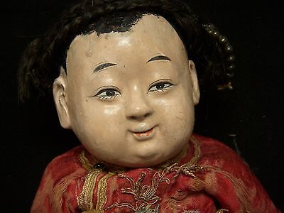 """Vintage Oriental Boy – 13"""" Chinese Doll, Ceramic Head, Composition Limbs - 1950s"""