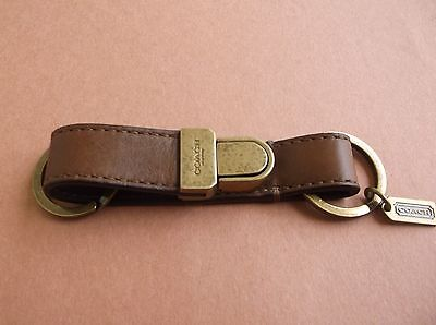 NWT Coach Men's Leather Pushlock Key Chain Ring FOB F61928 Brown