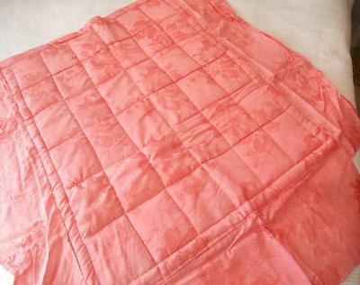 VINTAGE 1950s 1960'S QUILTED COT QUILT COMFORTER PINK SILKY FLORAL TAFFETA