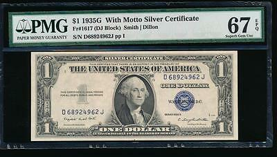 AC 1935G $1 Silver Certificate 'With Motto' PMG 67 EPQ UNC  Fr 1617!!!