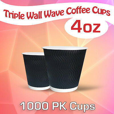 Disposable Triple Wall Wave Coffee Cups 4 Oz 1000 Pk Cups Takeaway Cups Bulk