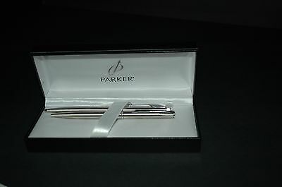 Parker Insignia Stainless Steel Chrome Trim Ball Point Pen & Pencil Set