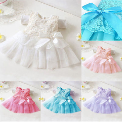 Newborn Baby Girls Tutu Tulle Dress Princess Party Lace Flower Dresses Wedding