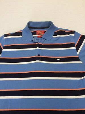 RM WILLIAMS Men's Striped Polo Blue Shirt Regular Fit Short Sleeved Size L