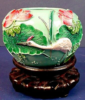 Small Antique Chinese Molded Porcelain 'Crane & Lotus Flower' Bowl