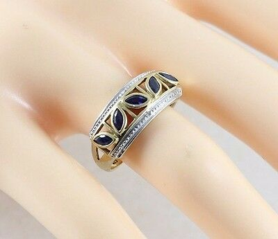 10k Yellow and White Gold Blue Sapphire Ring Size 7 1/2