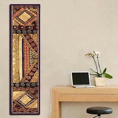"60"" Large Vintage Sari Ind Beaded Moti Sequin Wall Décor Hanging Tapestry Runner"