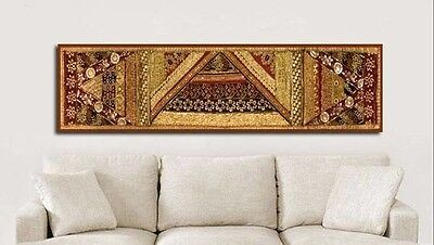 "60"" Antique Indian Beaded Sequin Pearl Sari Tapestry Wall Hanging Throw Runner"