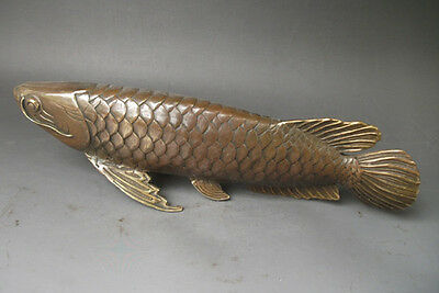 Collectible Decorated Chinese Bronze copper Carved statue ' Fish every year '