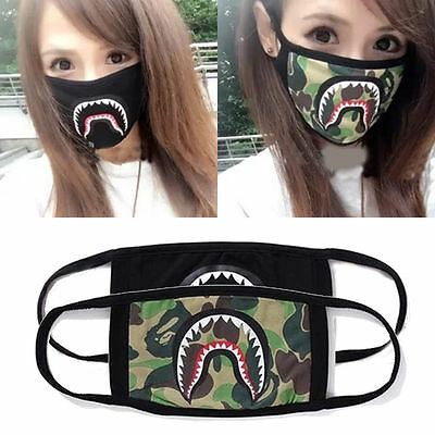 Unisex A Bathing Ape Bape Shark Black Face Mask Camouflage Mouth-muffle BAPE Hot