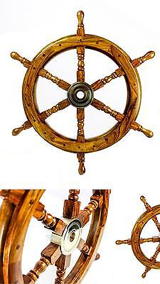 """16"""" Antique Nautical Handcrafted Pirate Wooden Ship Wheel Home Wall Decor Mount"""