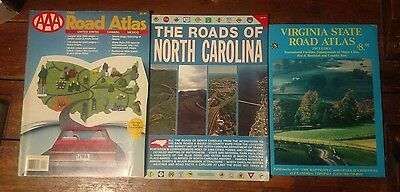 lot of 3 large road atlas maps Virginia North Carolina USA adc aaa Canada Mexico