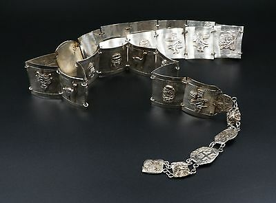 Unique Peruvian Taxco Spanish Reale Panel Link Sterling Silver Belt 34 232g M213