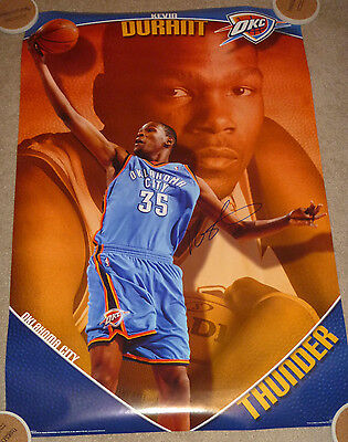 Kevin Durant Authentic Signed OKC Thunder NBA Basketball Poster Autographed