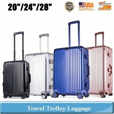 "20/24/28"" Luggage Travel Bag Trolley Box Suitcase 4 Wheels Aluminum PC HardShell"