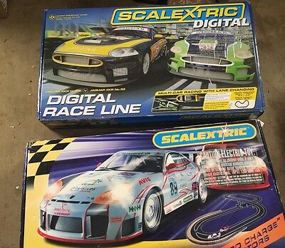 2 Scalextric Race Sets - Porsche GT And Jaguar XKR - 1 Used, 1 Not Used