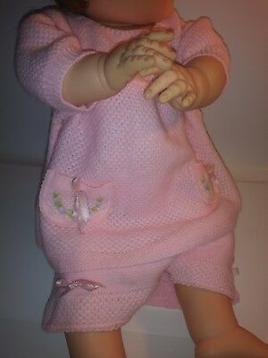 Vintage Pink Knit Baby Doll 2 Pc Dress Panties Set Tagged A Little Angel Orig