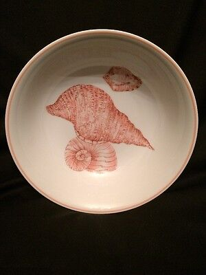 Vintage 1976 Fitz and Floyd Coquille Round Shell Design Serving Bowl Size 9 3/8""