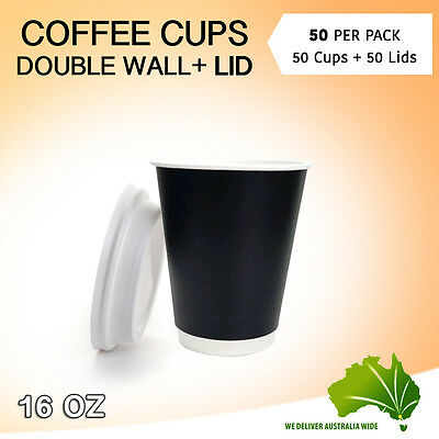 Double Wall  Disposable Coffee Cups 50 Pc + Lids 50 Pc 16 oz Take Away Coffee
