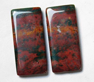31.75 Cts Natural Blood Stone Cabochon Pair (30Mm X 13Mm) Each Gemstones