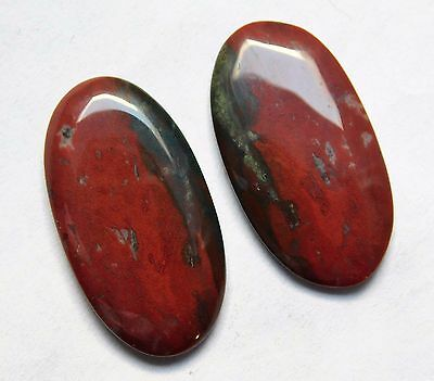 33.25 Cts Natural Blood Stone Cabochon Pair (31Mm X 17Mm) Each Gemstones