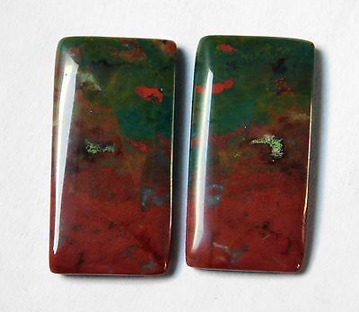 28.90 Cts Natural Blood Stone Cabochon Pair (28Mm X 14Mm) Each Gemstones