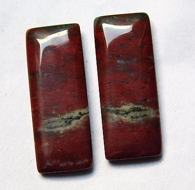 34.00 Cts Natural Blood Stone Cabochon Pair (31Mm X 12Mm) Each Gemstones