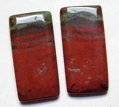 28.35 Cts Natural Blood Stone Cabochon Pair (27Mm X 13Mm) Each Gemstones