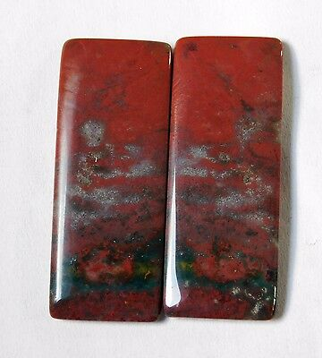 49.05 Cts Natural Blood Stone Cabochon Pair (40Mm X 16Mm) Each Gemstones