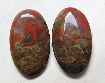 14.30 Cts Natural Blood Stone Cabochon Pair (20Mm X 12Mm) Each Gemstones