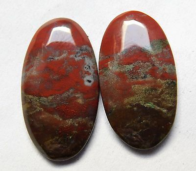 22.05 Cts Natural Blood Stone Cabochon Pair (26Mm X 14Mm) Each Gemstones