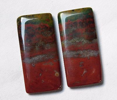 23.20 Cts Natural Blood Stone Cabochon Pair (27Mm X 13Mm) Each Gemstones