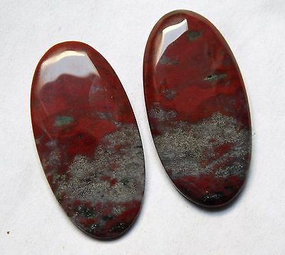 33.80 Cts Natural Blood Stone Cabochon Pair (33Mm X 16Mm) Each Gemstones