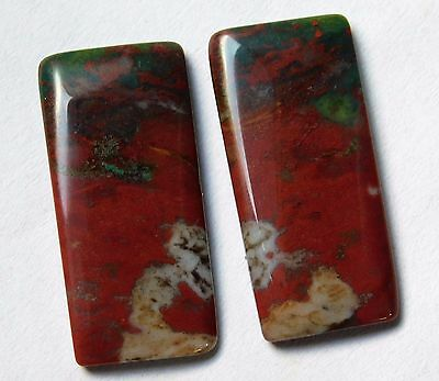 22.90 Cts Natural Blood Stone Cabochon Pair (27Mm X 12Mm) Each Gemstones