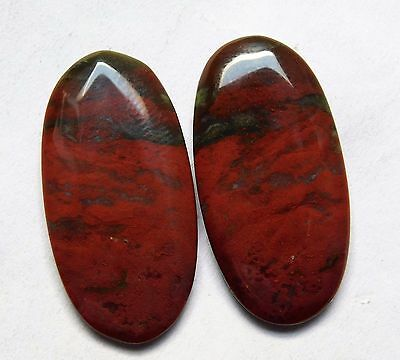 26.35 Cts Natural Blood Stone Cabochon Pair (29Mm X 15Mm) Each Gemstones