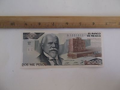 El Banco de Mexico 2000 Dos Mil Pesos 24 FEB 1987 Series CURRENCY circ