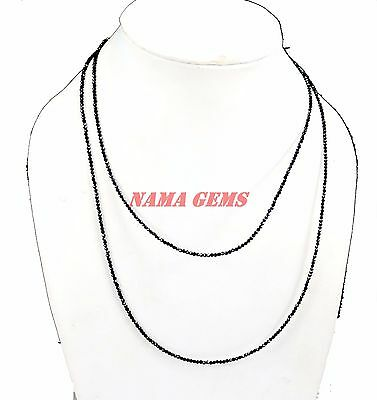 """Black Spinel Gemstone 2 Mm Rondelle Beads 36"""" Strand Necklace With Silver Claps"""