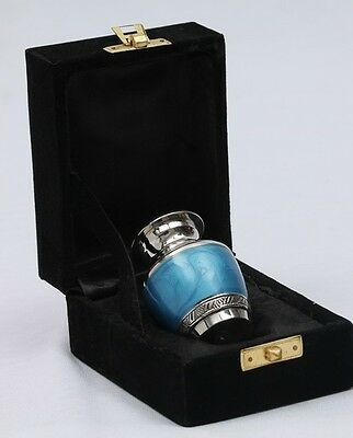 "Memorial Keepsake Cremation Ashes Urn 2.5"" Small - Blue Nickel"
