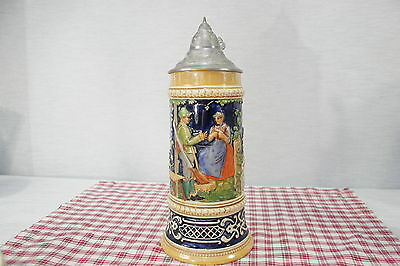 "German Luster Lidded Beer Stein 10 1/4"" Man with rifle, Woman Impressed 534 0.5L"