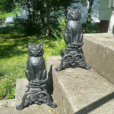 "Antique 17"" Black Cats Cast Iron Vintage Fireplace Andirons Glass Marble Eyes"