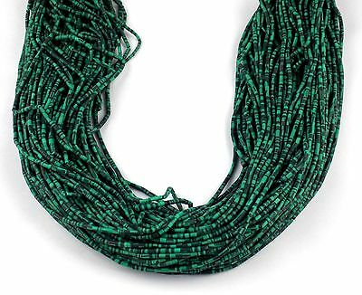 "20 Strands Synthetic Malachite 1.75X.5- 2X2.25mm Heishi Beads Gems 12"" Hand Cut"